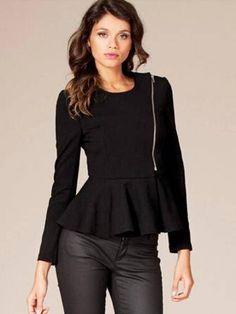 Slim Ruffle Hem Peplum Zipper Thin Short Jacket Outwear | GonChas