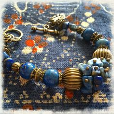 jewelry, bijou, bracelet Браслет. Фурнитура - античная бронза, лазурит (бусины, крошка).