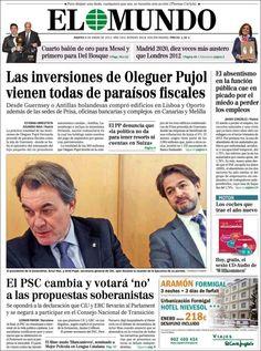 Titulares y Portada del 8 de Enero de 2013 del Periodico El Mundo ¿Que te parecio este día?