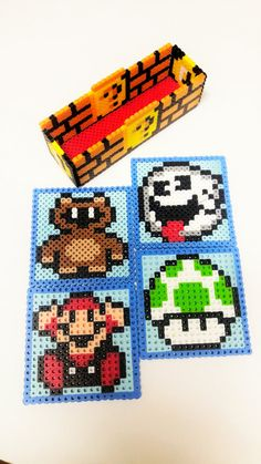 Check out this item in my Etsy shop https://www.etsy.com/listing/462816351/mario-coasters-perler-bead-coasters