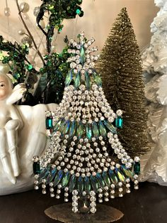 Vintage Blue Candle Czech Rhinestone Christmas Tree, Czech Blue Crystal Christmas Tree, Stand up tree, Tabletop Tree, Christmas Decoration by MeAndMoma on Etsy