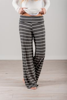 RESTOCKED! RubyClaire Boutique - Wide Leg Loungers >CHARCOAL<, $32.00 (https://www.rubyclaireboutique.com/wide-leg-loungers-charcoal/) Yoga Pants | Pajama Pants | Loungewear | Striped Pajamas | Women's Pajama Pants