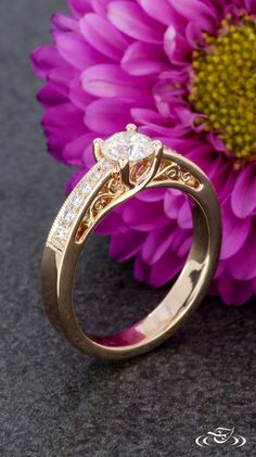 Rose Gold Miligrain and Filigree Engagement Ring.Green Lake Jewelry