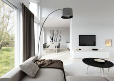Interior:Captivating Scandinavian Interior Design Living Room With Sofas And Table Feat Floor Standing Lamps Also Curtains And Drapes Plus Flat Screen Tv And Fireplace Then Marble Flooring Along With Living Room Red, Living Room With Fireplace, Living Room Paint, Living Room Colors, Living Room Sofa, Scandinavian Interior Design, Interior Design Living Room, Living Room Designs, Scandinavian Interiors
