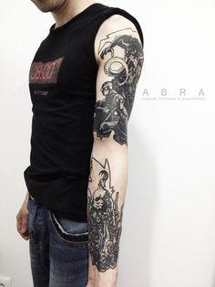 "illustration by Mike Mignola ""Hellboy"" #tattoo #blacktattoo #graphictattoo #blackink #abra #abrablack #abratattoo #lineart #tattoodesign #tattooidea #tattoosketch #hellboytattoo"