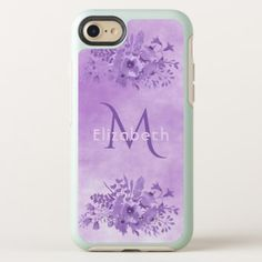 Ultra violet watercolored flowers monogrammed OtterBox symmetry iPhone 8/7 case - elegant gifts gift ideas custom presents