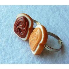 peanut butter and nutella best friend rings ($15) ❤ liked on Polyvore featuring jewelry, rings, accessories, not square icons, square rings, adjustable rings and wide rings