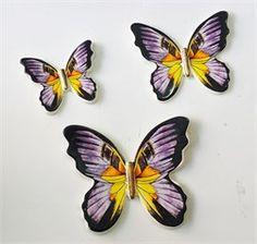 3lü Mor Seramik Kelebek Duvar Süsü