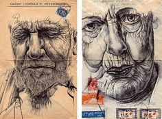 Artist Mark Powell has produced a series of stunning ballpoint pen drawings on envelopes and other found materials.