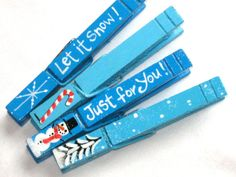 BLUE CHRISTMAS CLOTHESPIN magnets hand painted on Etsy, $11.00