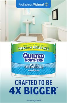 Save now on a 4X bigger* roll that lasts – Quilted Northern® Mega rolls – and refill the roll less.  Quilted Northern Ultra Soft & Strong® 2-ply toilet paper with Cleanstretch® is designed to be flexible and strong for a comfortable clean you can count on.