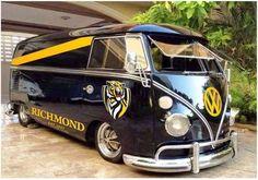 A Richmond Kombi van Vw Bus, Volkswagen, Richmond Football Club, Yellow Black, Tigers, Van, Funny, Sports, Hs Sports