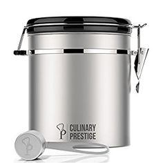 Amazon.com: Stainless Steel Coffee Canister 16 oz - Built-in One Way Valve Blocks CO2 From Ruining Coffee Flavor - Built-in Freshness Calendar – Free eBook & Stainless Steel SCOOP by Culinary Prestige: Kitchen & Dining
