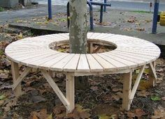 circular tree bench full circular tree bench with Tree Seat, Tree Bench, Bench Around Trees, 1001 Palettes, Garden Furniture, Outdoor Furniture, Wooden Architecture, Outdoor Tables, Outdoor Decor