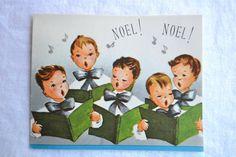 Vintage Christmas Card   Noel Choir Boys  by Pumpkintruckpaper