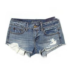 Pre-owned American Eagle Outfitters  Denim Shorts Size 0: Blue Women's... (790 PHP) ❤ liked on Polyvore featuring shorts, bottoms, jeans, blue, american eagle outfitters, blue jean shorts, denim shorts, blue shorts and denim short shorts