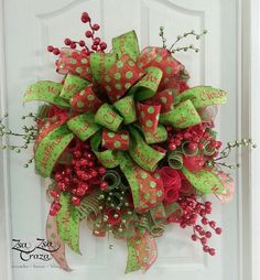 Christmas Berry Deco Mesh Wreath by ZsaZsaCraza on Etsy