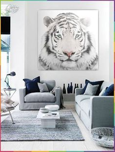 Tygrys biały należy do bardzo rzadkich drapieżników. Możesz go mieć w swoim salonie. W salonie Z PAZUREM! :D www.coloray.pl #tiger #livingroom #design #homedesign #canvas