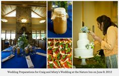Details from an early summer wedding including the table setting, a bruchetta appetizer, homemade applesauce favors and the florist delicately decorating the cake.