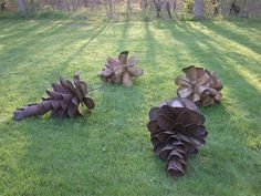 Giant Pine Cones from Old Shovel Blades Metals Recycled Art