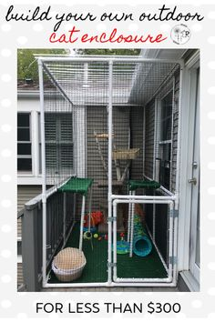 Do you have indoor cats that crave some outdoor time? Build them an outdoor enclosure they will love! It's so easy and inexpensive to build and I will show you how. playground outdoor diy How to build a Catio with PVC pipes - Our Re-purposed Home Diy Cat Enclosure, Outdoor Cat Enclosure, Patio Enclosures, Reptile Enclosure, Catio Ideas For Cats, Cat Playground, Outdoor Cats, Indoor Outdoor, Cat Room