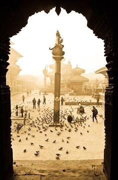 An early morning in Patan Durbar square, Kathmandu.