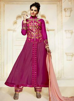 Glowing Hot Pink Georgette Anarkali Salwar Suit