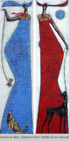 Dame in Blau, Dame im Rot, by Ira Tsantekidou (2007)