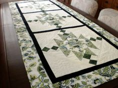 modern green white and black striking patchwork by StephsQuilts, $80.00