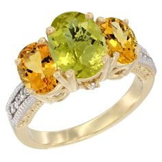 14K Yellow Gold Diamond Natural Lemon Quartz Ring 3-Stone Oval 8x6mm with Citrine, size 10, Women's
