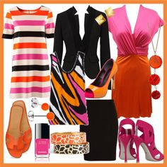 how to wear orange: with pink