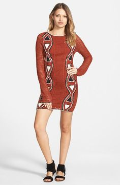 """Volcom 'Vibe' Crochet Minidress available at #Nordstrom A cool geo-knit design frames a totally retro crochet minidress fashioned with a skin-baring scooped back and snug fit. 32"""" length. Lined. 60% ramie, 40% cotton. Hand wash cold, dry flat. By Volcom; imported."""