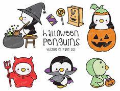 Premium Vector Clipart  Kawaii Halloween pingüinos  Set de