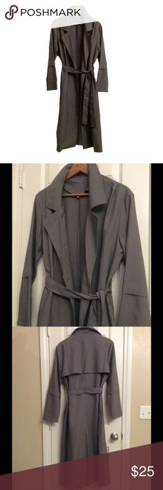 NEW LISTING ❤️ Chic long grey trench & FREE choker Soo elegant and stylish, in poly fabric, SIZE L, 49 inches long, adjustable waist belt, approximately 40+ or - across bust, compare same coat sold at Lulus for $68.  Receive a FREE GIFT boutique gold choker with this purchase! 💕 Jackets & Coats Trench Coats
