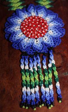 Huichol Peyote Beaded Necklace WW-Blue by HuicholArte on Etsy