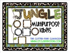 MULTIPURPOSE LABELS / TAGS for a JUNGLE ~ SAFARI CLASSROOM THEME US$3.50 only for the blank outlines... Not sure if worth it but cool!