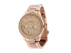 Which music genre in your mind when wearing this pink gold watch --> Fossil Women's Watch Rose Gold Tone Bracelet STELLA Swarovski w/Box ES3003 #Fossil #Dress #Fashion $99.77