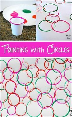 Your kids will be surprised when they see the eye catching art they can create w.Your kids will be surprised when they see the eye catching art they can create when painting with circles. 80 OF THE BEST ACTIVITIES FOR 2 YEAR OLDS S. Toddler Learning Activities, Infant Activities, Art Activities For Preschoolers, Kids Painting Activities, Activities For 2 Year Olds, Art Activities For Kindergarten, Activies For Kids, Process Art Preschool, Summer Art Activities