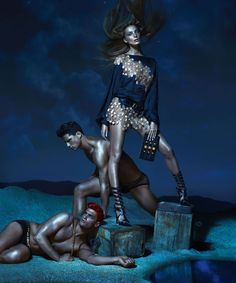 great navy top w/ applique~ Kate Moss, Daria Werbowy and Joan Smalls Are Divine Beauties for Versaces Spring 2013 Campaign by Mert & Marcus