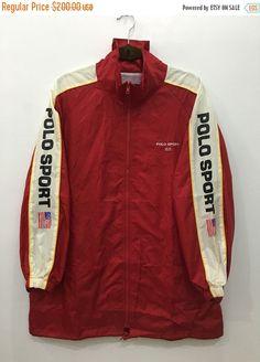 a1c4d0ec5762e 90 s Polo Sport Ralph Lauren Windbreaker Red Polo Jacket Polo Hoodie  Sweater Size Free  J150