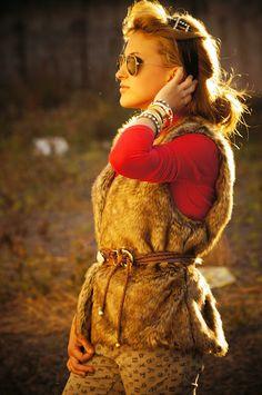 Winter fake fur vest