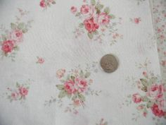 Mary Rose 3 MR151110-C Faded Red / Pink Roses Sage Leaves Kaufman Reprint 1 Yd.