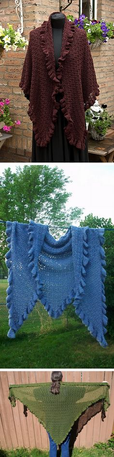 """Let's Go Shopping shawl -- Free pattern by Sharon Cheek, inspired by a shawl worn by HRH Kate Middleton. Worked bottom-up, uses 800 yds fingering yarn with hook size 'J' for a lacier, open stitch; size 66""""x37"""" without ruffles. Easy written instructions & a stitch diagram. Finished size & ruffles are optional; I'd make it big & cuddly :-) #crochet"""