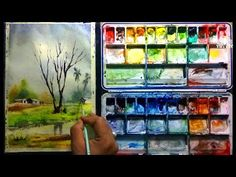 How to paint a simple village landscape tutorial with Watercolor by Biki Das Watercolor Landscape Tutorial, Watercolor Paintings, Watercolour, Art Tutorials, Youtube, Craft Projects, Drawings, Simple, Exercise
