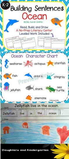 Writing and word work center  about ocean animals.  Building sentences includes leveled worksheets for kindergarten, 1st, and 2nd grade lessons.  Sarah Griffin, Daughters and Kindergarten. https://www.teacherspayteachers.com/Product/Building-Sentences-Ocean-A-non-fiction-writing-center-1901513