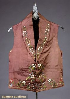 Augusta Auctions, May 2007 Vintage Clothing & Textile Auction, Lot 780: Young Mans Embroidered Waistcoat, 1830s
