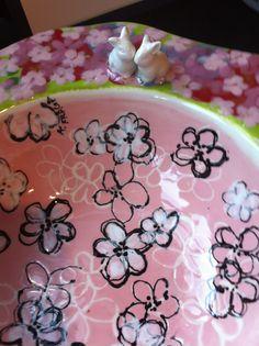 """The Bunny Bowl""-detail. Kathe Fraga hand painted ceramics for The Art of The Table auction benefiting Bainbridge Island Museum of Art. Photo: Kathe Fraga 2013"