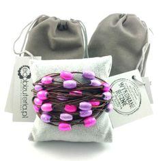 Bransoletka sznurek czekoladowy brąz różowe fioletowe koraliki Lens, Klance, Lentils