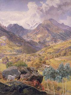 The Val d'Aosta, 1858 (oil on canvas) by Brett, John