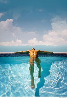Hot guys chill in the pool